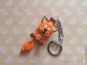 Делаем забавный брелок: лепим лисёнка с болтающимся хвостиком