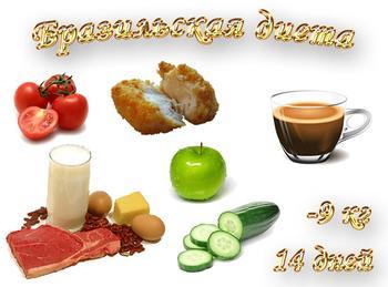 Бразильская диета, 14 дней, -9 кг