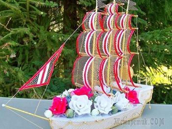 Мастер-класс: свадебный корабль из конфет