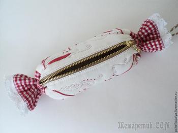 Создаём косметичку в виде конфеты в русском стиле