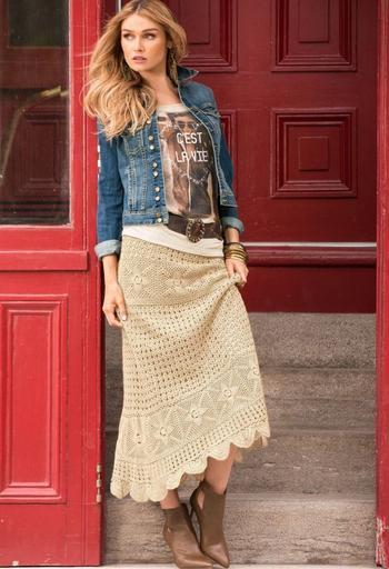 Как красиво носить юбку бохо