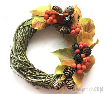 Осенний декоративный венок из натуральных материалов