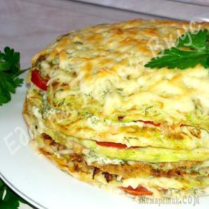 Самый вкусный Кабачковый торт с помидорами и сыром! Легкий рецепт