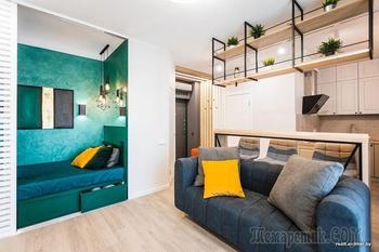 Вся жизнь на 40 «квадратах». Посмотрели на стильную мини-квартиру со спальней для интровертов