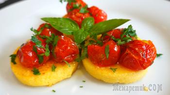 Полента с сыром, томатами, и базиликом ( Рецепт поленты ) // Polenta