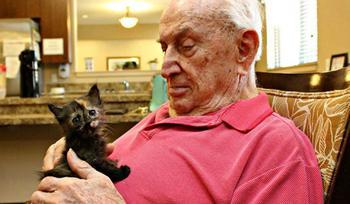 Дом престарелых, где заботятся и о пожилых людях, и о брошенных животных