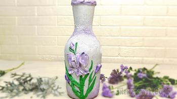 Цветы из шпаклевки. Декор бутылки