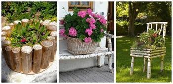 Креативные идеи для сада из необработанной древесины