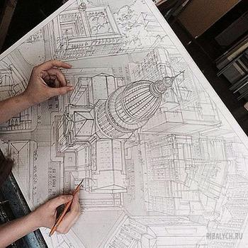 Будущий архитектор из Казани рисует гениальные эскизы зданий