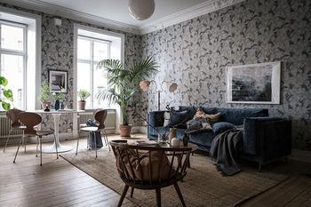 Обои, которые изменили всё: атмосферный интерьер квартиры в Швеции (94 кв. м)