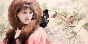 Женское очарование, художник Людек Алоиз Марольд / Ludwig Marold 1865-1898