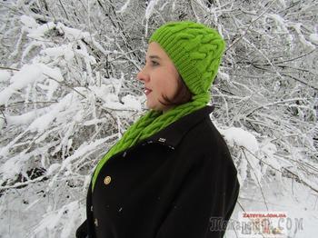 Вязание шапочки, шарфа и варежек узором коса на 12 петлях. Часть 1: шапка и шарф