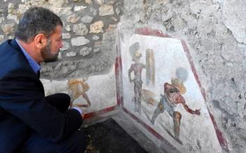 В Помпеях археологи нашли древнюю картину, на которой изображён кровавый спорт