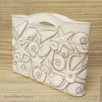 Декорируем пляжную сумку вязаными ракушками и морскими звездами