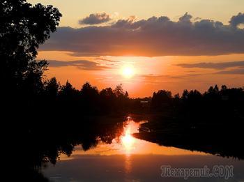 Закат на р.Шуя,Карелия