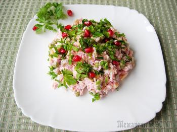 """Салат """"Аура"""". Рецепт салата без майонеза с пикантной заправкой."""