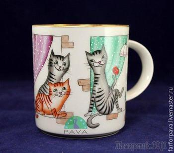 Кошки в окошке: расписываем фарфоровый бокал керамическими красками