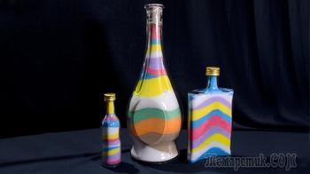 Как покрасить соль. Декор бутылок цветной солью