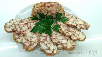 """Куриный рулет """"Мраморный""""- мясное блюдо на праздничный стол"""