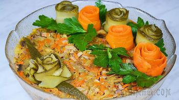 Салат без майонеза с куриной печенью и шампиньонами