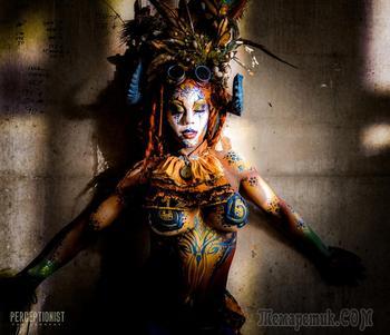 Безумный боди-арт на фестивале Circus North