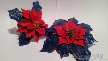 Создаем из кожи брошь «Рождественский цветок. Пуансеттия»
