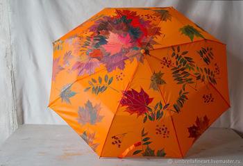 Роспись зонта «Рябина и осенние листья»