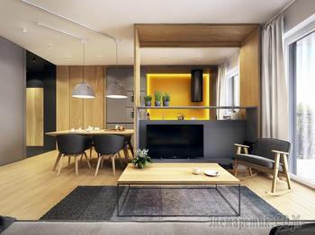 Современные апартаменты с нетрадиционной трактовкой скандинавского стиля