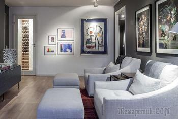 Контрастный интерьер с картинами в Швеции