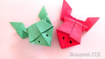 Лягушка из бумаги для детей