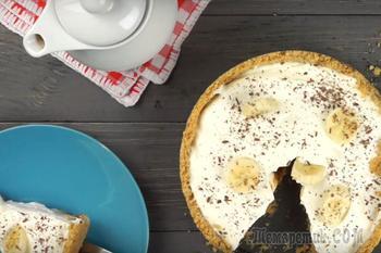 Торт из крекера, бананов и сметаны без выпечки