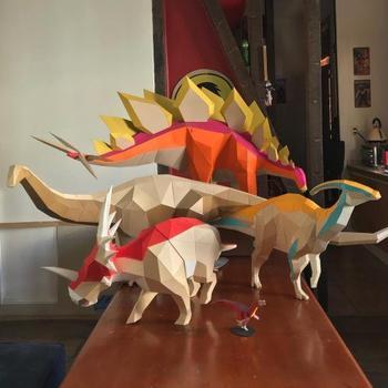 Бумажные скульптуры динозавров от Себы Нараньо