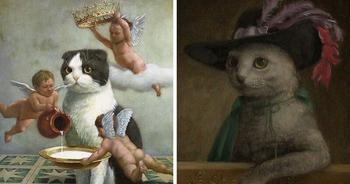 Коты-короли в работах талантливого японского художника Токухиро Каваи