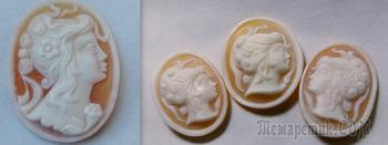 Комплект камей ( под брошь-кулон, кольцо и серьги), морская раковина. Наименьшие - серьги - 21 х 15 мм, остальное - по-больше.