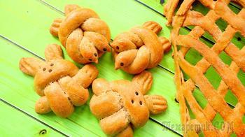Пасхальные булочки жаворонки и зайчики