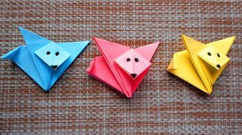 Как сделать лису из бумаги. Простая детская поделка оригами