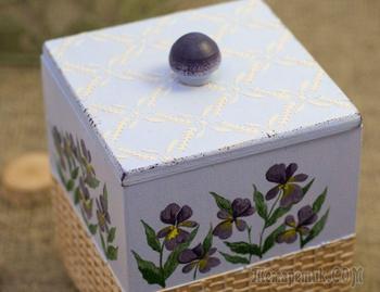 Мастер-класс: кухонный короб с росписью нежной фиалки и имитацией плетеной корзинки