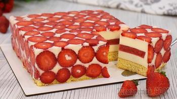 Клубничный муссовый торт (Приведёт ваших гостей в восторг от такой красоты!)
