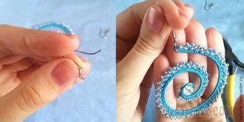 Вяжем серьги с бисером «Морская волна»