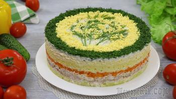 """Слоёный салат """"Мимоза"""" с сыром и тунцом. На праздничный стол!"""