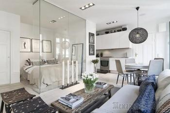 Шведский интерьер квартиры-студии 34 кв. м.