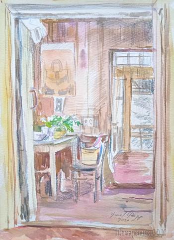 Старый дом. Акварельная зарисовка. Смешанная техника. Художник Федор Усачев