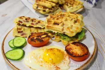 ВКУСНЕЙШИЕ несладкие ВАФЛИ с колбасками и сыром. Отличный завтрак на День святого Валентина!