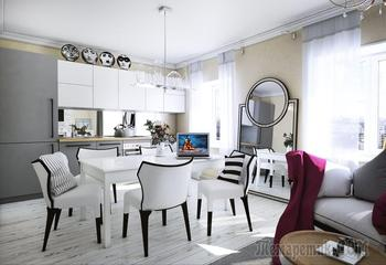 Дизайн квартиры в стиле современная классика 68 кв. м.