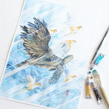 Дух животных в рисунках, выполненных акварелью