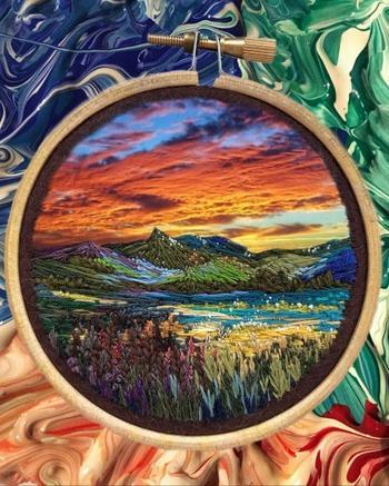 Пейзажи с помощью ниток от Веры Шимуни