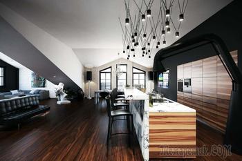 Как живут продюсеры: мансардная квартира с открытой террасой в Москве