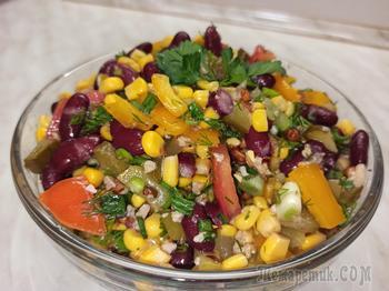 Салат овощной с солеными огурцами без майонеза.Постный рецепт