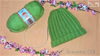 Женская шапка спицами с отворотом