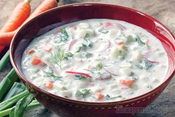 Холодный суп-окрошка на квасе - летом то, что надо!